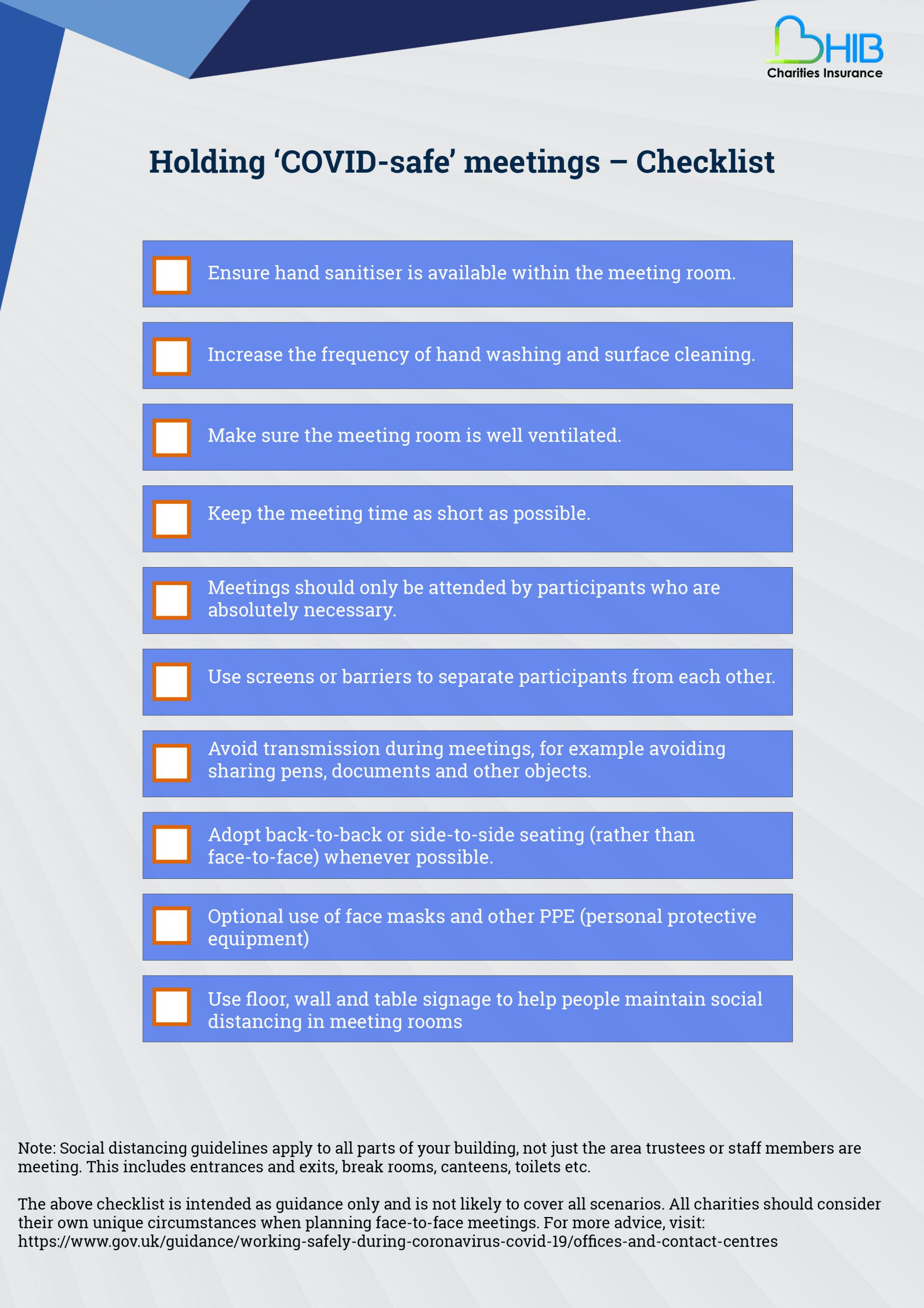 COVID safe charity meetings checklist